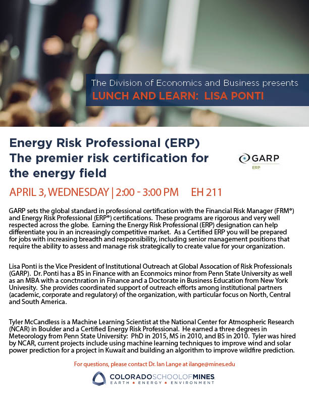 Flyer for Energy Risk Professional Lunch and Learn
